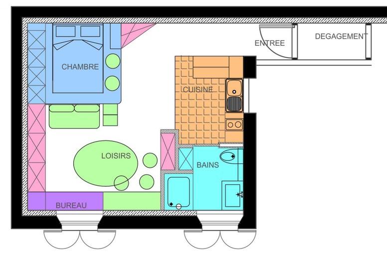 amazing amenagement d un studio 10 proposition du0027am nagement de sandia homeezy. Black Bedroom Furniture Sets. Home Design Ideas